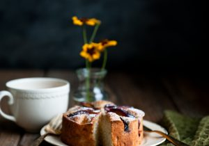 Plum Rosemary Brandy Cake Recipe