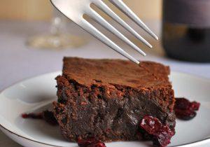 Red Wine Brownies with Drunken Cranberries Recipe