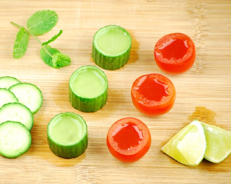 Tomato and Cucumber Edible Shot Glasses