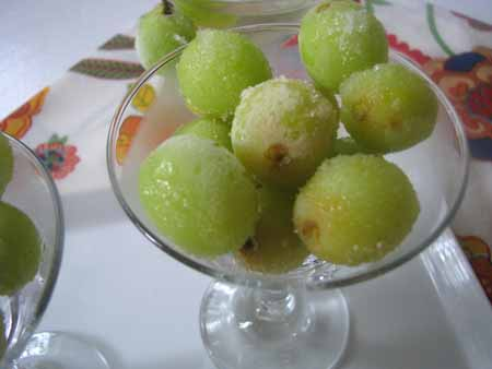 Frozen Wine Marinated Grapes