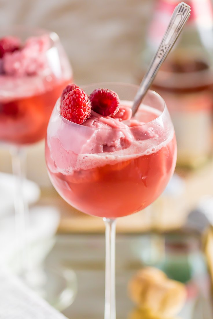 Raspberry Pink Champagne Floats Recipe