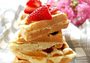 Sweet Potato Waffles with Warm Strawberry Vodka Sauce Recipe