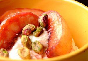 Yogurt with Red Wine Poached Nectarines Recipe