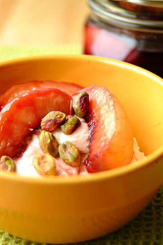 Yogurt with Red Wine Poached Nectarines Recipe
