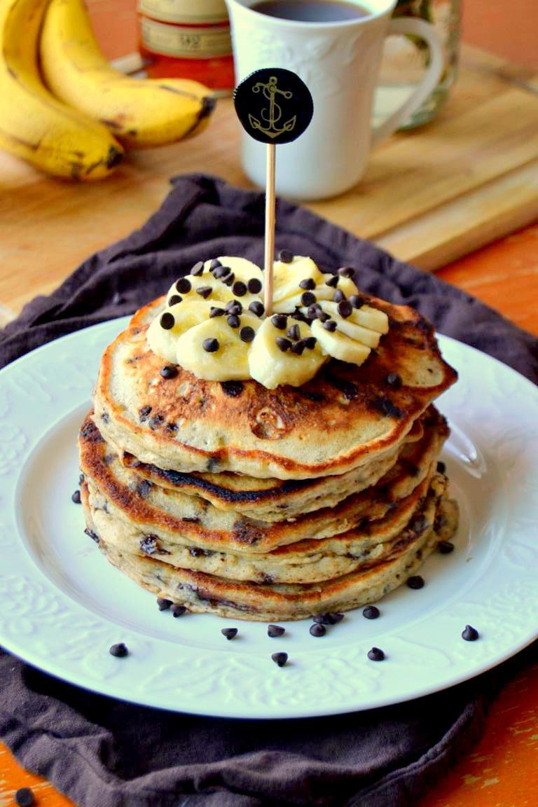 Rum Spiked Chocolate Chip Banana Pancakes Recipe