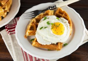 Beer Raised Waffles with Cheddar and Scallions Recipe