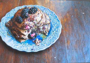 Boozy Blackberry Flourless Pancakes Recipe