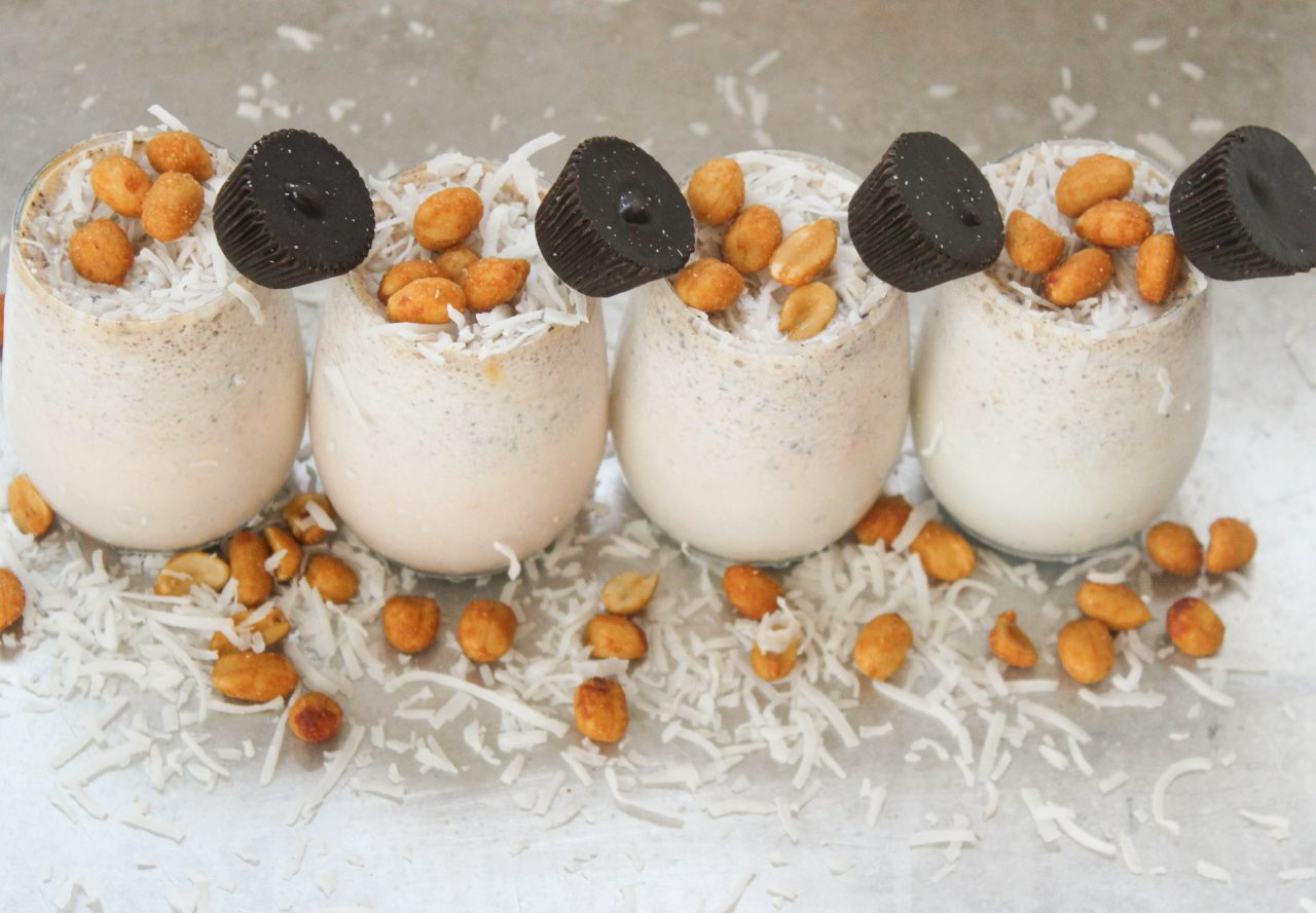 Honey Roasted Peanut, Coconut and Peanut Butter Cup Milkshakes Recipe