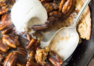 Skillet Blondie with Bourbon Caramel Pecans Recipe