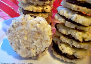 Coconut Amaretto Chocolate Sandwich Cookie Recipe