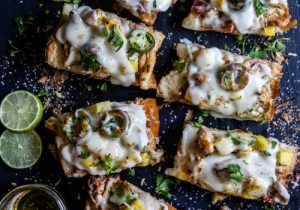 Pineapple Chicken French Bread with Rum Cheese Sauce
