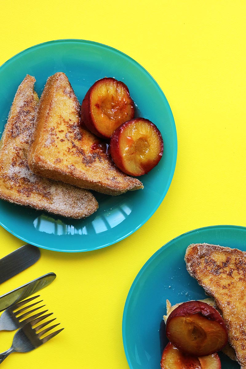 Spiked Donut French Toast with Vanilla Roasted Plums