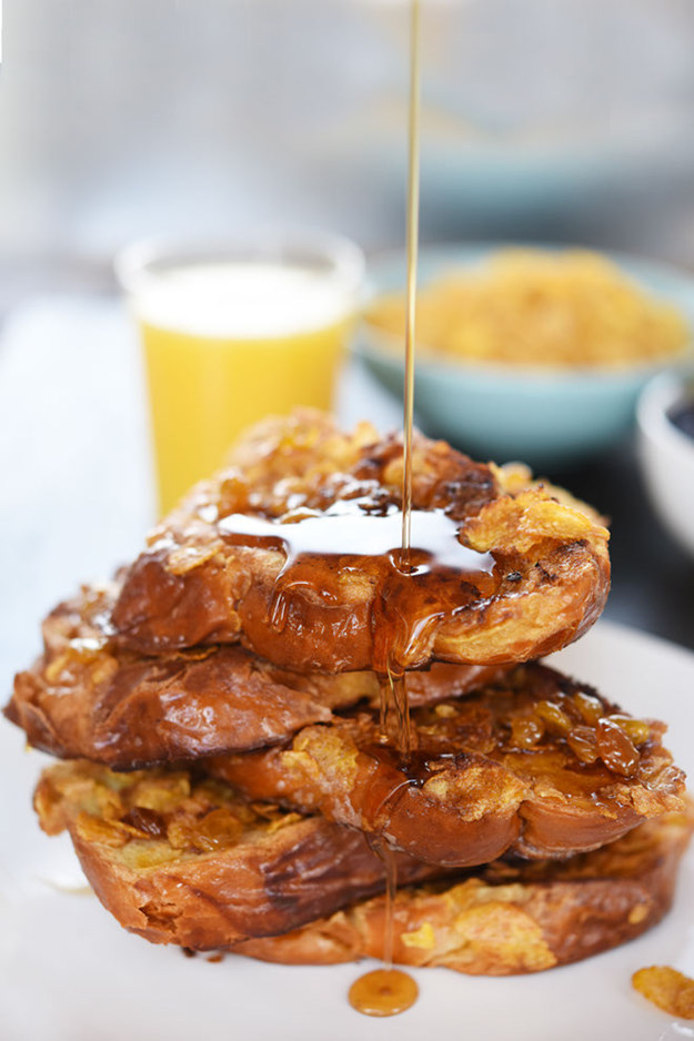 Boozy Corn Flake Crusted French Toast