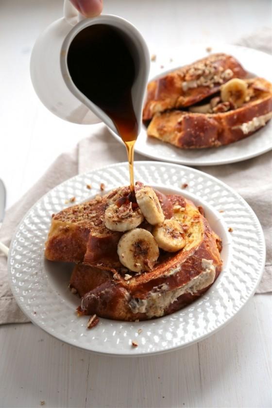 Bourbon Banana Nut Stuffed French Toast