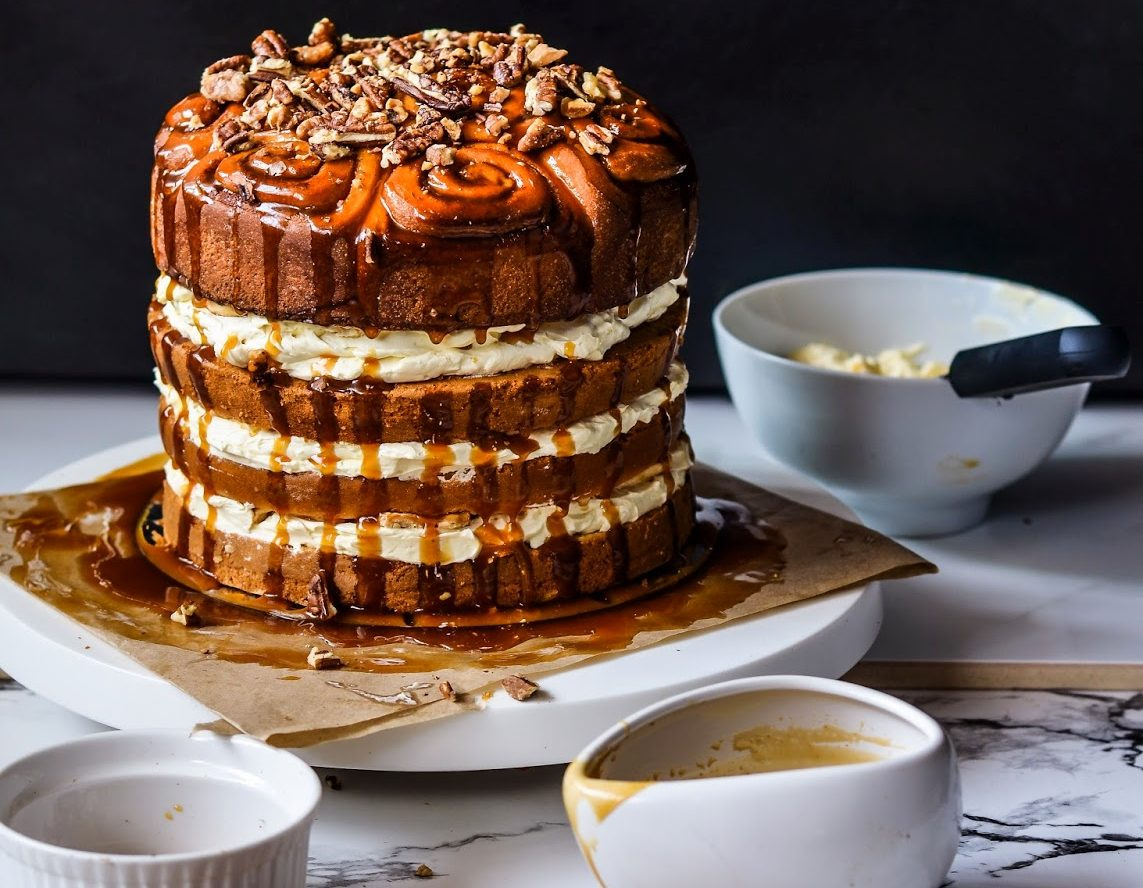 Boozy Butterscotch Cinnamon Roll Cake Recipe
