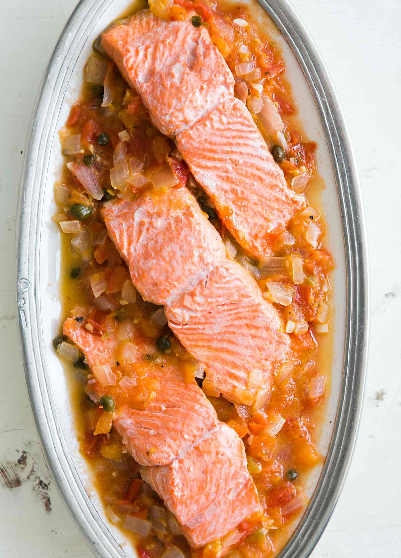 Salmon with Tomato, Onions and Capers