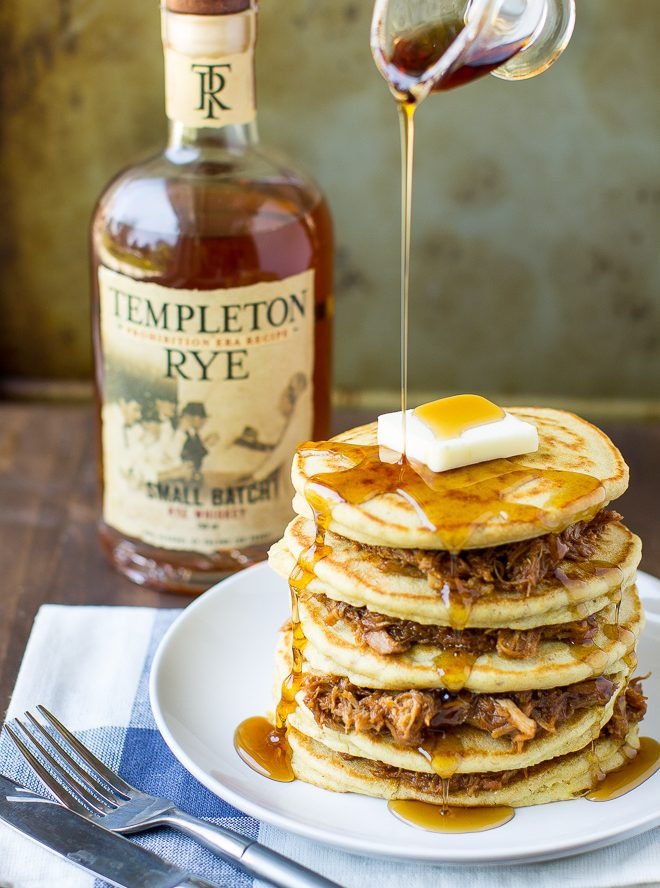 Pulled Pork Pancakes with Whiskey Maple Syrup Recipe