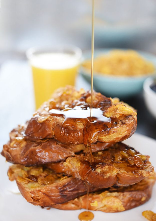 Boozy Corn Flake Crusted French Toast Recipe