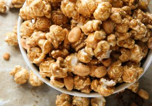 Bourbon Caramel Corn with Honey Roasted Peanuts Recipe