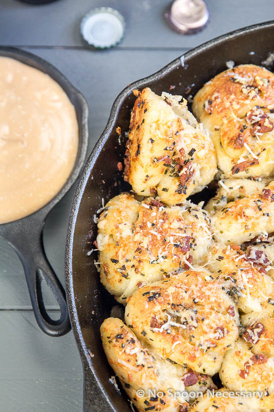 Bacon Garlic Knots with Beer Cheese Sauce