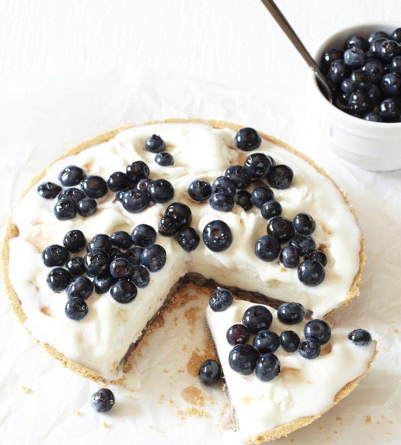 Frozen Yogurt Pie with Boozy Blueberries Recipe