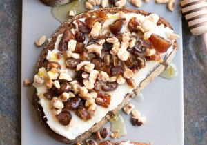 Ricotta Date Hazelnut Tartine with Spiced Rum Recipe