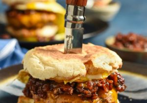 Breakfast Burger with Bourbon Bacon Jam