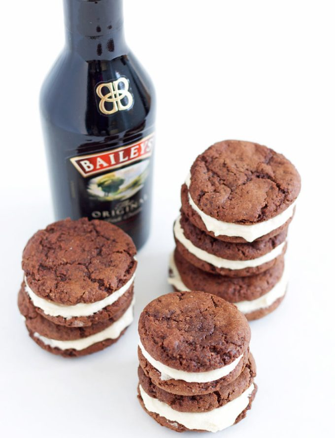 Fudgey Chocolate Kahlua Cookies with Baileys Buttercream