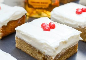 Rumchata Blondies with Fireball Cream Cheese Frosting