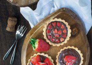 Strawberry and Champagne Truffle Tarts