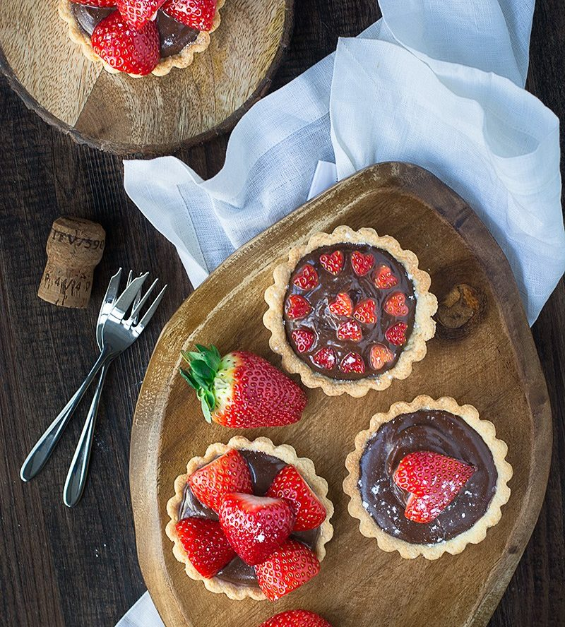Strawberry and Champagne Truffle Tarts