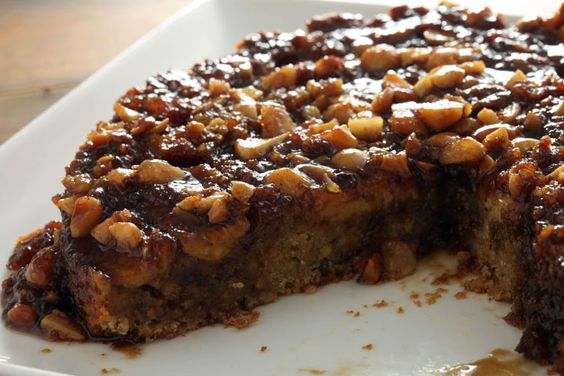 Banana Macadamia Nut Upside Down Cake with Dark Rum