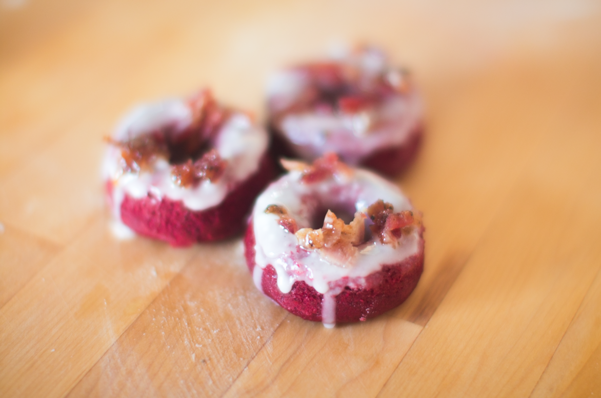 Boozy Bacon Red Velvet Doughnuts