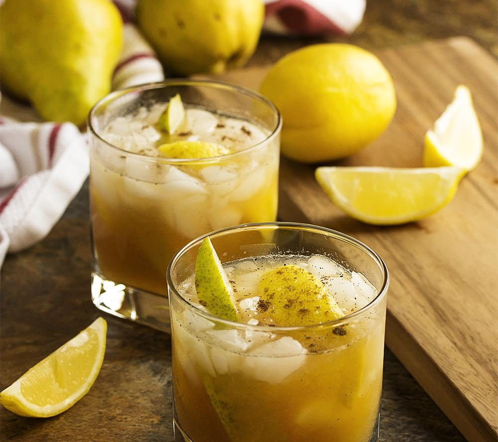Pear Bourbon Smash Cocktail