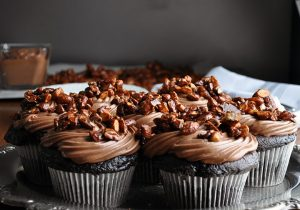 Chocolate Cupcakes with Amaretto Cream & Almond Pralines