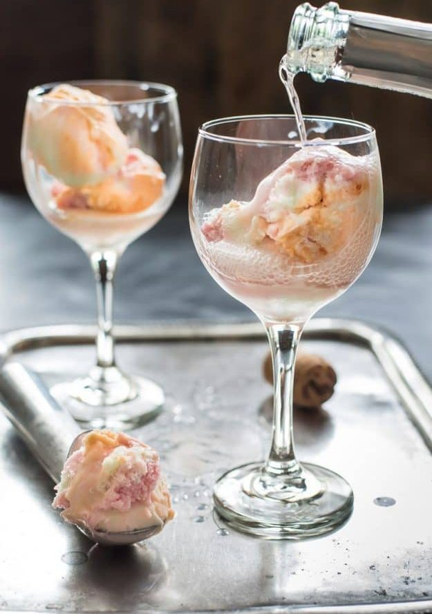 Rainbow Sherbet Champagne Floats