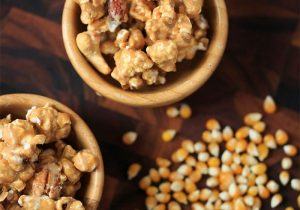 Beer Caramel Corn with Pretzels and Pecans