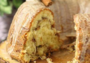 Coquito Cinnamon Roll Bundt Cake