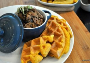 Pumpkin Ale and Sweet Potato Waffles with Pork Maple Sauce