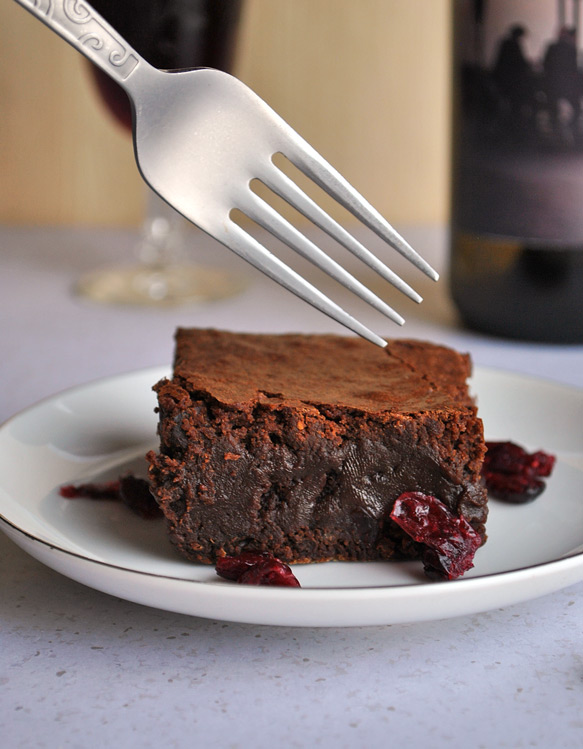 Red Wine Brownies with Drunken Cranberries Recipe