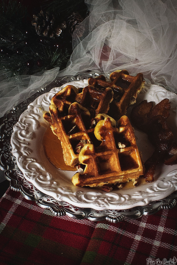 Spiked Eggnog Belgian Waffles with Warmed Boozy Sauce Recipe
