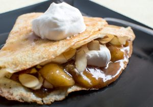 Amaretto Crepes with Banana Brown Butter Sauce Recipe