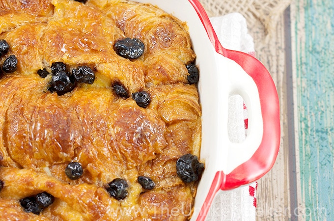Croissant Bread Pudding with Lemon Butter and Blueberries Recipe