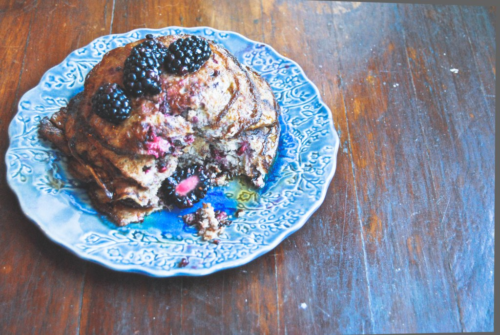 Boozy Blackberry Flourless Pancakes Recipe