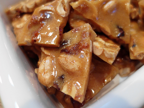 Hard Cider Peanut Brittle with Bacon and Maple Recipe