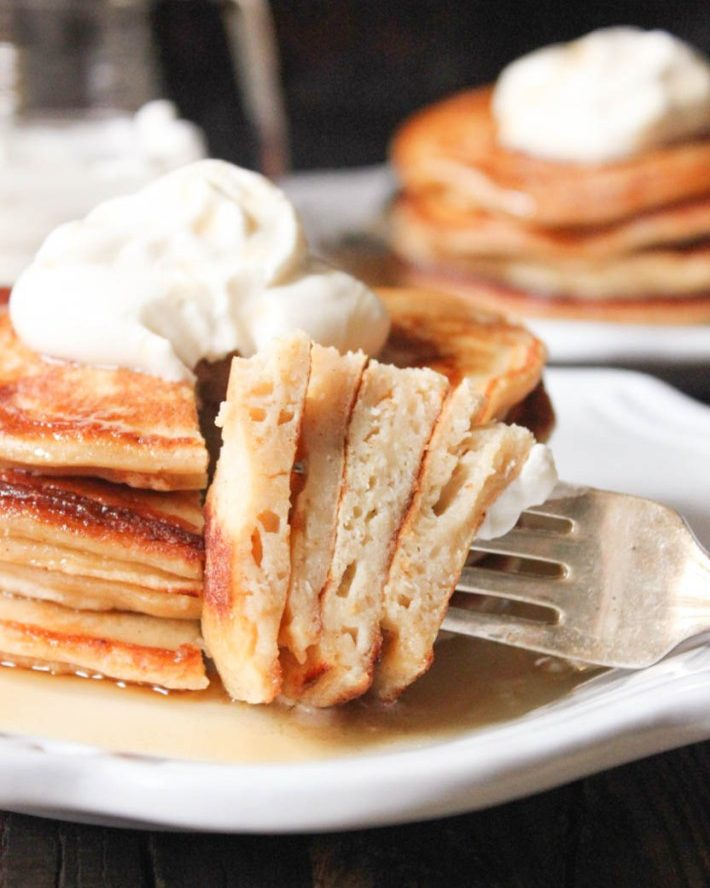 Ricotta Pancakes with Maple Bourbon Whipped Cream