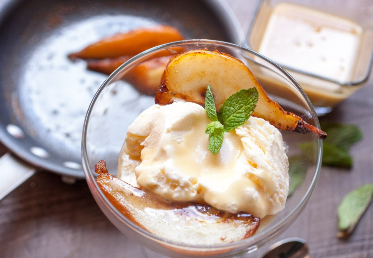 Caramelized Pears with Butter Rum Sauce Recipe
