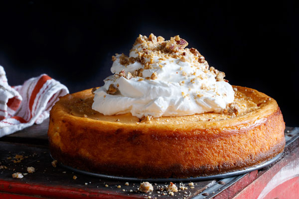 Sweet Potato Cheesecake with Bourbon Whipped Cream Recipe