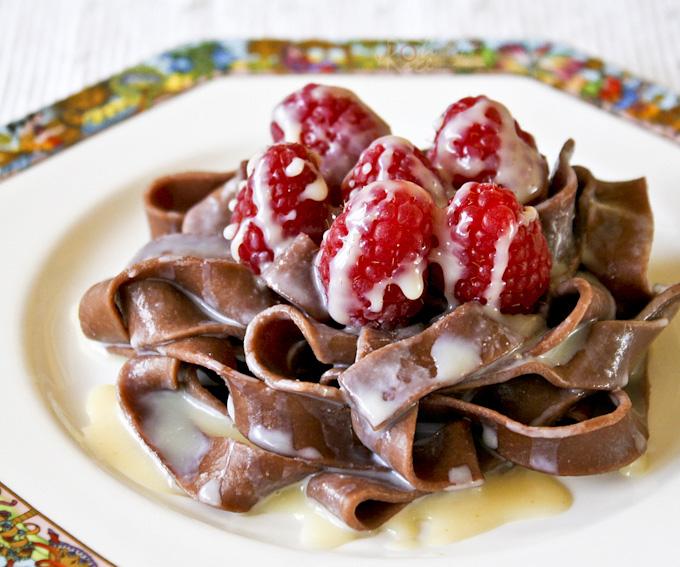 Chocolate Pasta with White Chocolate Liqueur Recipe