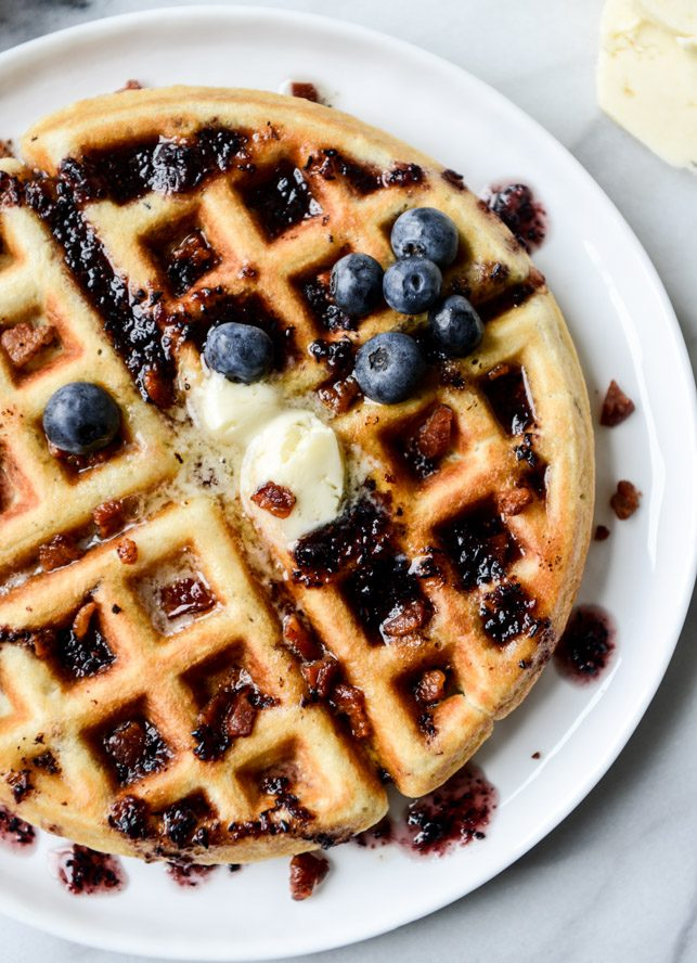 Crispy Bacon Waffles with Bourbon Butter